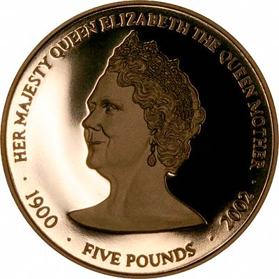 Reverse of 2002 Guernsey Queen Mother Memorial Gold Proof £5 Coin