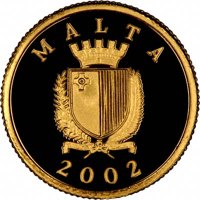 Obverse 2002 of Maltese Gold 10 Lira