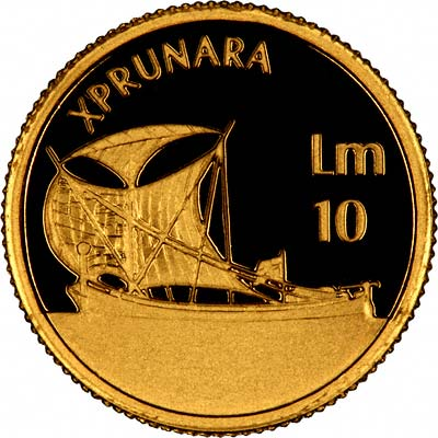 Reverse 2002 of Maltese Gold 10 Lira