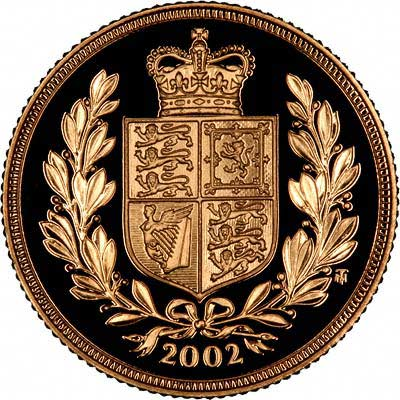 Shield Reverse on 2002 Golden Jubilee Proof Sovereign