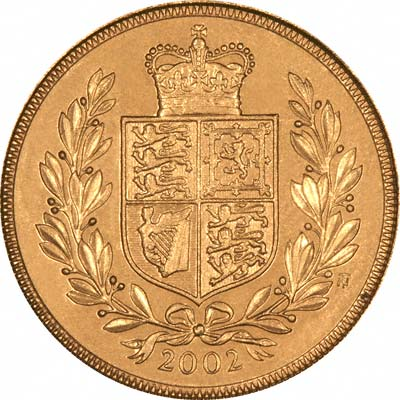 Shield Reverse on 2002 Golden Jubilee Uncirculated Sovereign