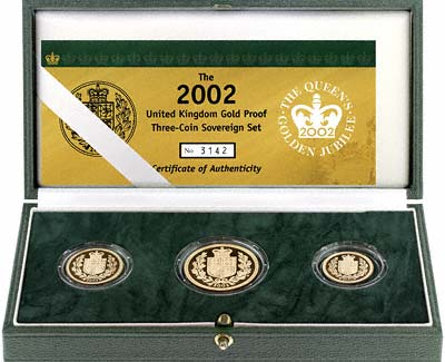 2002 British Gold 3 Coin Proof Set in Presentation Box