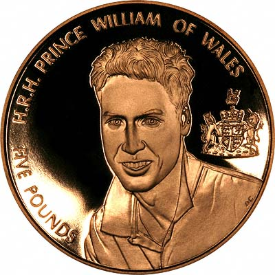 Prince William on Reverse of 2003 Alderney Five Pounds