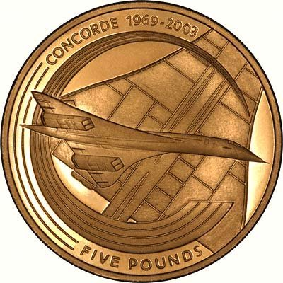 Concorde on Reverse of 2003 Alderney Gold Five Pounds