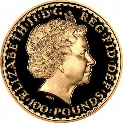 Obverse of One Ounce Gold Proof Britannia