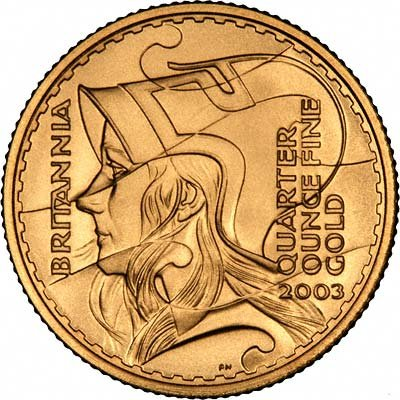 Reverse of 2003 £25 Quarter Ounce Gold Britannia Proof