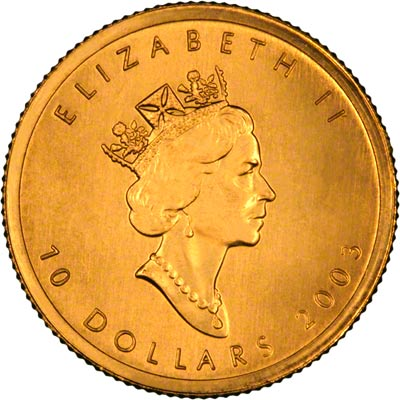 Obverse of 2003 Canadian Quarter Ounce Gold Maple Leaf