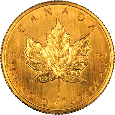 Reverse of 2003 Canadian Quarter Ounce Gold Maple Leaf
