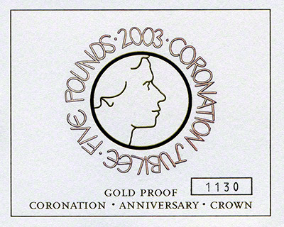2003 Gold Proof £5 Crown Certificate of Authencity- 'God Save The Queen'