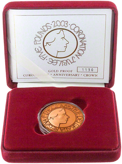 2003 Gold Proof £5 Crown in presentation Box- 'God Save The Queen'