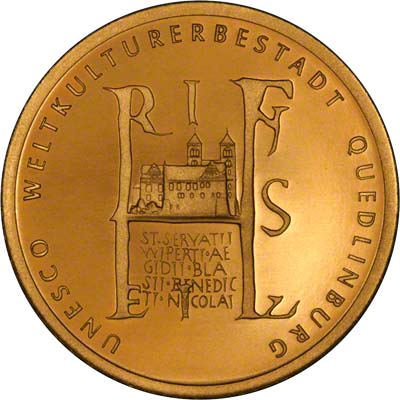 Quedlinburg Abbey on Reverse of 2003 Gold Proof 100 Euro