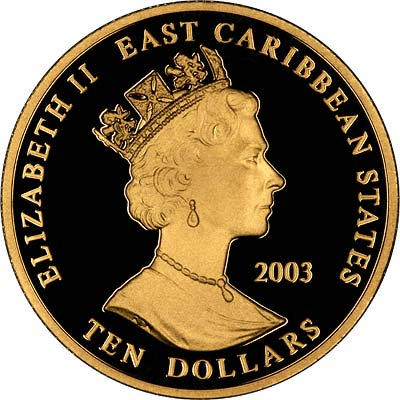 Obverse of 2003 Ten Dollars Gold Coin