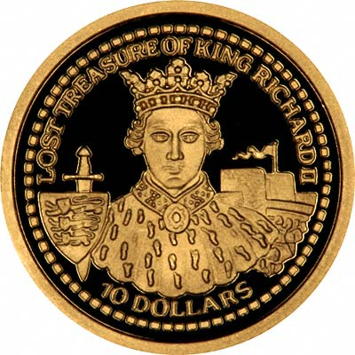 Lost Treasure of King Richard II on Reverse of 2003 Fiji Gold 10 Dollars