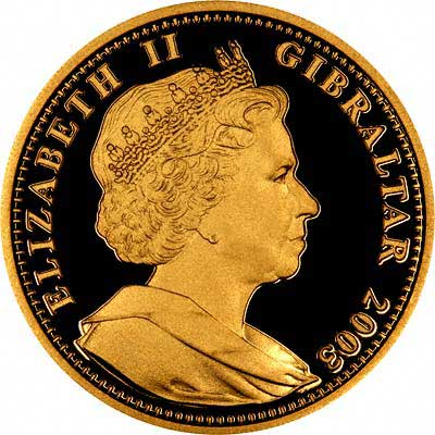 Obverse of 2003 Gibraltar One Ounce Gold Royal Coin