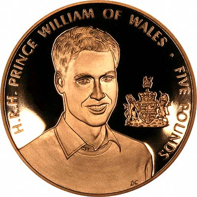Prince William of Wales on Reverse of 2003 Guernsey Gold £5 Crown