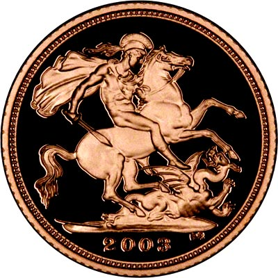 Reverse on the 2003 Proof Half Sovereign