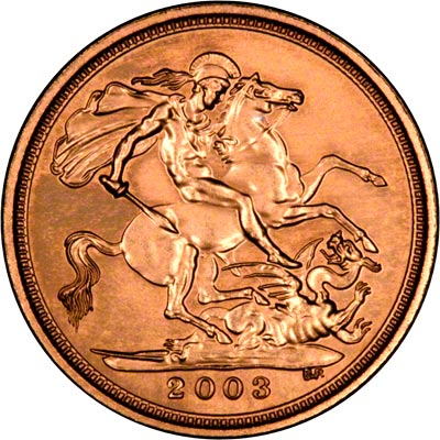 Reverse on the 2003 Uncirculated Half Sovereign