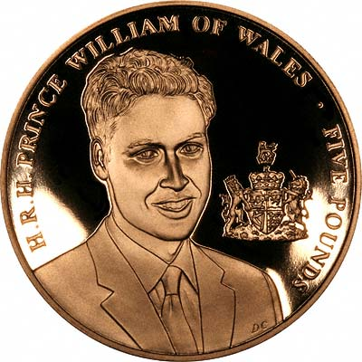 Reverse of 2003 £5 Prince Willliam Of Wales