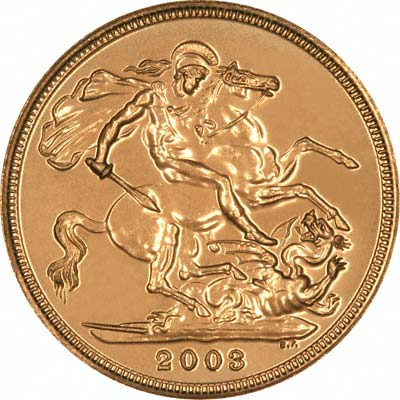 Reverse of 2003 Uncirculated Sovereign