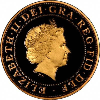 Obverse of 2003 DNA £2 Proof