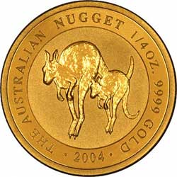 Reverse Design of a Year 2001 Australian Quarter Ounce Gold Kangaroo Nugget Coin