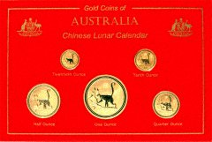 Set of 2004 Australian Gold Monkey Coins in Case