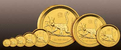 All Eight Sizes of Gold Year of the Monkey Coins