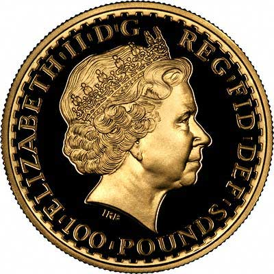 Obverse of 2004 British Proof One Ounce Gold Britannia