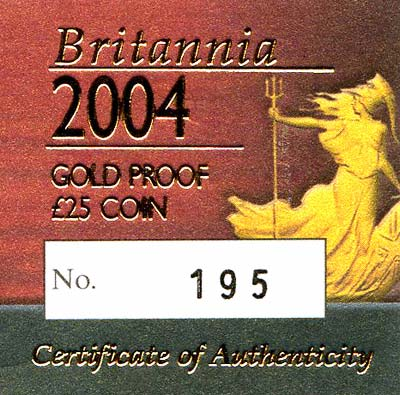 2004 Quarter Ounce Britannia Gold Proof Coin Chards Tax Free Gold