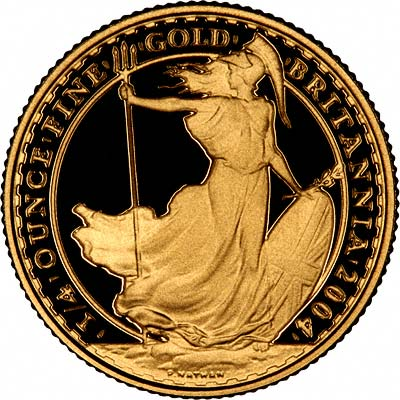 Reverse of 2004 Quarter Ounce Gold Britannia Proof