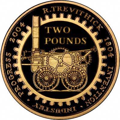 Reverse of 2004 Steam Engine £2 Proof