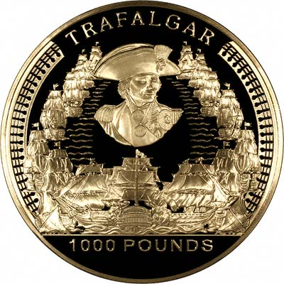 Battle of Trafalgar on Reverse of 2005 Alderney Battle of Trafalgar Gold £1,000 Proof