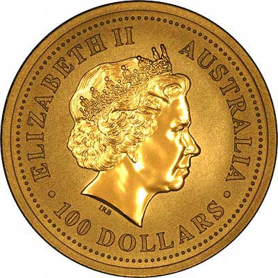 Obverse Design of a Year 2001 Australian One Ounce Gold Kangaroo Nugget Coin