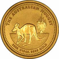 Reverse Design of a Year 2000 Australian Tenth Ounce Gold Kangaroo Nugget Coin