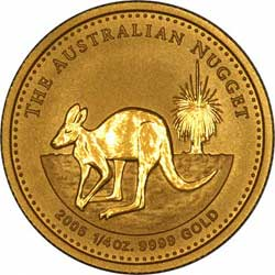 Reverse Design of a Year 2000 Australian Quarter Ounce Gold Kangaroo Nugget Coin