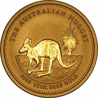 Reverse Design of a Year 2000 Australian Half Ounce Gold Kangaroo Nugget Coin