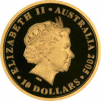 Obverse of 2005 Australia $10 ANZAC 90th Anniversary Gold Proof