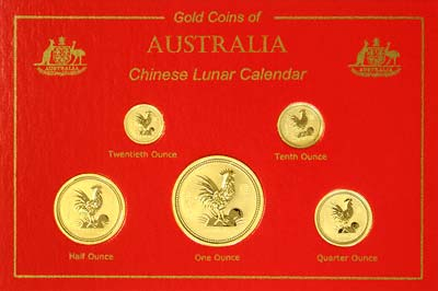 Set of 2005 Australian Gold Rooster Coins in Case