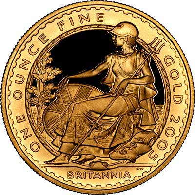 Reverse of 2005 Gold Proof One Ounce Britannia