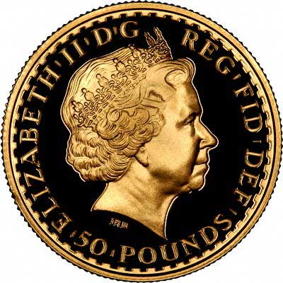 Obverse of 2004 Half Ounce Britannia - Ten Pounds