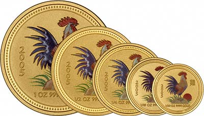 A Complete Cackle of Crowing Coloured Cockerel Coins