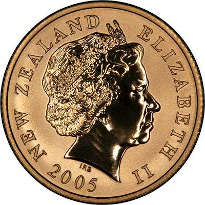Obverse of 2005 New Zealand 10 Dollar Gold Coin