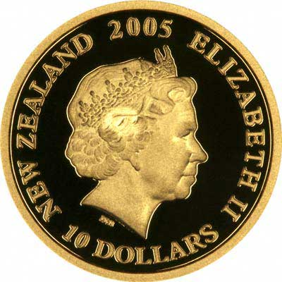 Obverse of 2005 New Zealand $10 ANZAC 90th Anniversary Gold Proof