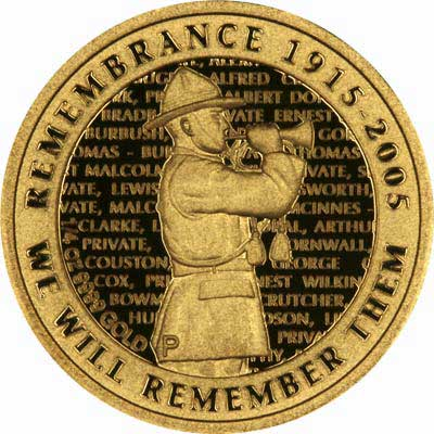 Reverse of 2005 ANZAC Commemorative$10 Gold