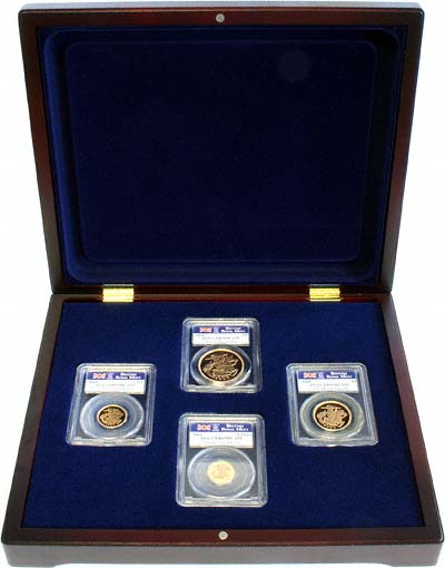 2005 Four Coin Cased Proof Set Five Pounds to Half Sovereign Encapsulated in Wooden Box