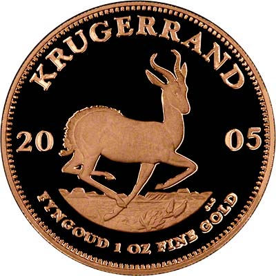 Reverse of 2005 One Ounce Gold Proof Krugerrand