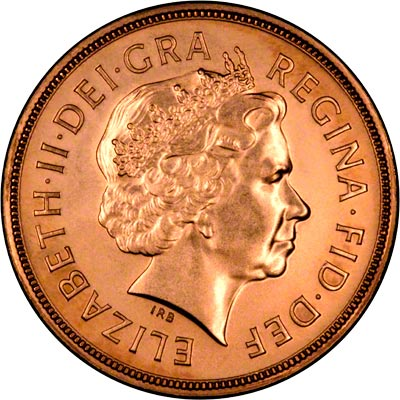 Obverse of 2005 Uncirculated Sovereign