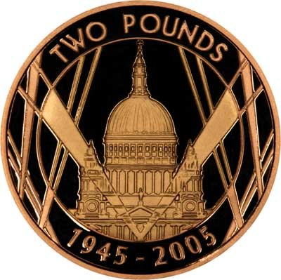 Reverse of 2005 WWII St. Paul's Cathedral £2 Proof