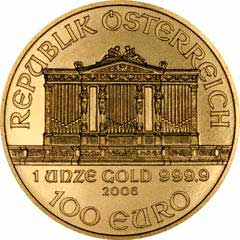 Obverse of One Ounce Gold Austrian Philharmoniker