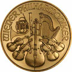 Reverse of One Ounce Gold Austrian Philharmoniker